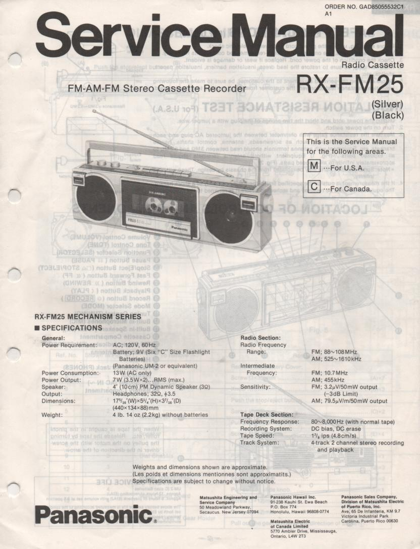 RX-FM25 AM FM Cassette Recorder Service Manual