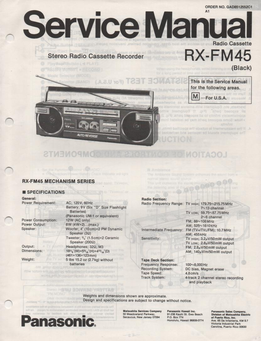 RX-FM45 AM FM Cassette Recorder Service Manual