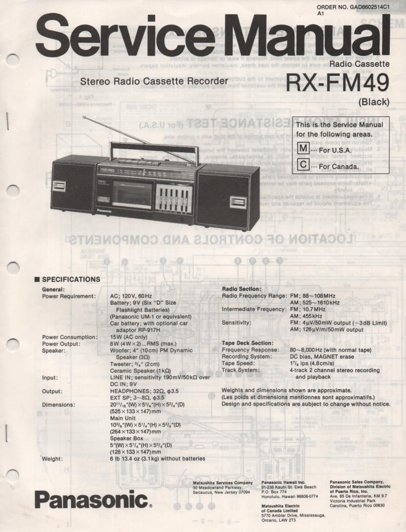 RX-FM49 AM FM Cassette Recorder Service Manual
