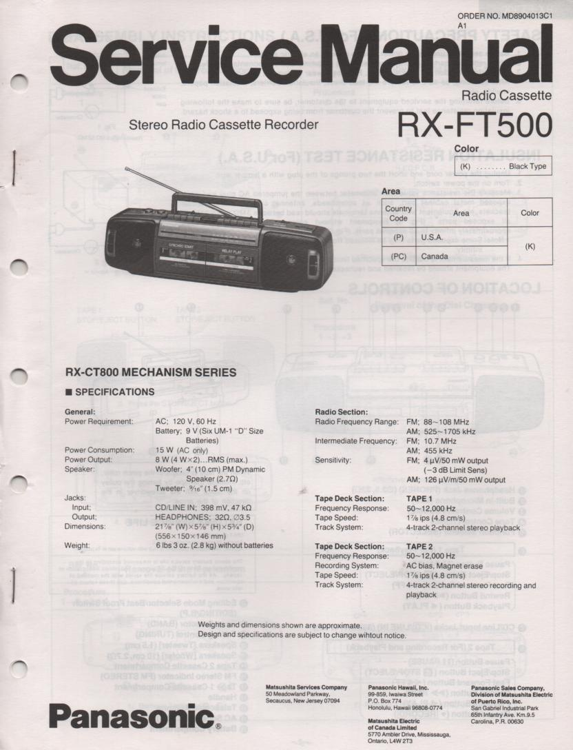 RX-FT500 AM FM Radio Cassette Recorder Service Manual
