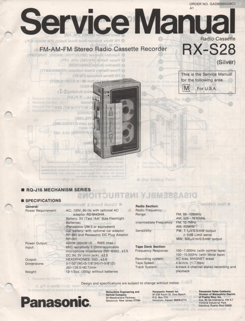 RX-S28 Mini Cassette Recorder Radio Service Manual