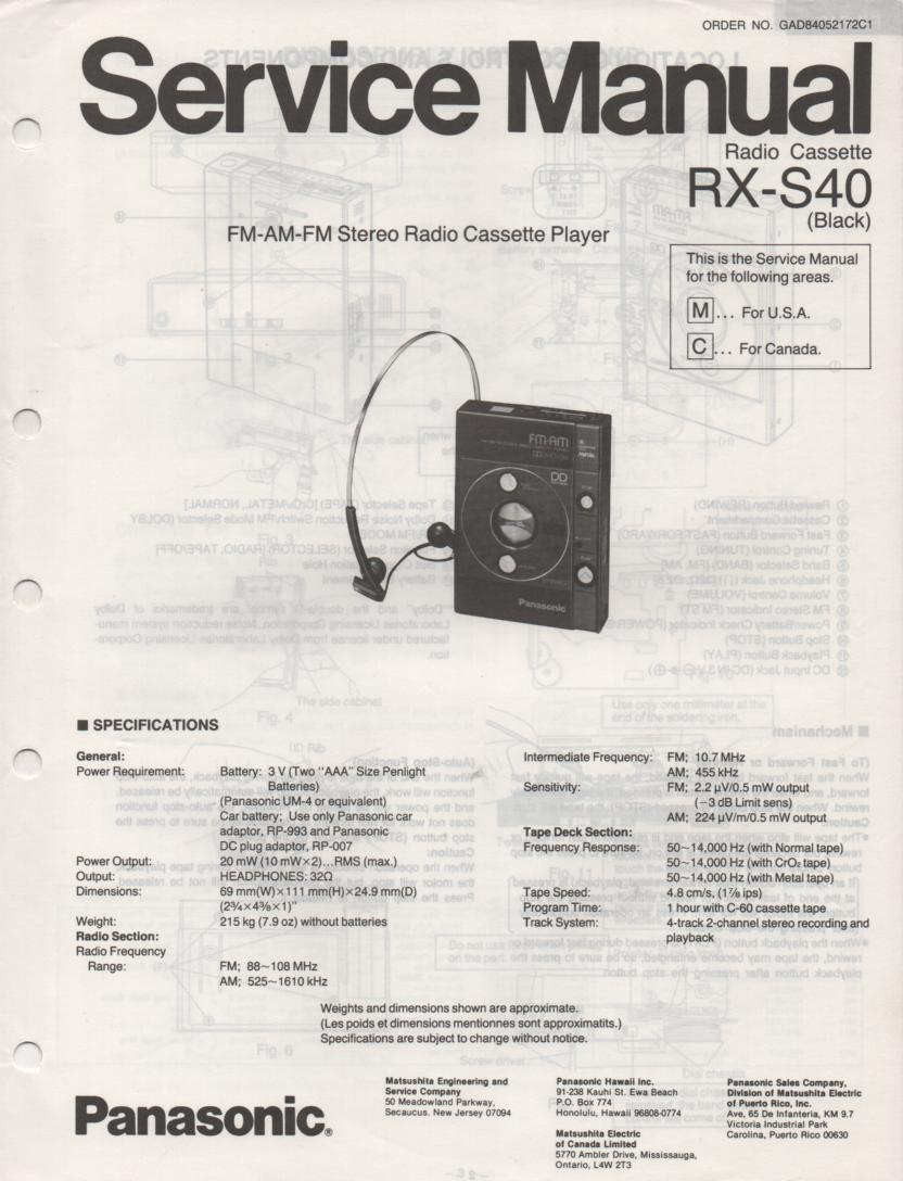 RX-S40 Mini Cassette Radio Player Service Manual