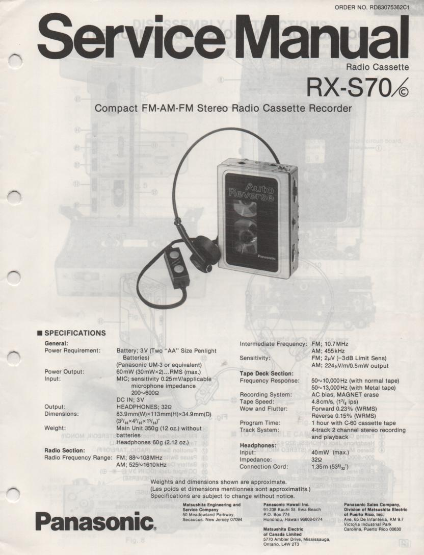 RX-S70 RX-70C Mini Cassette Radio Recorder Service Manual