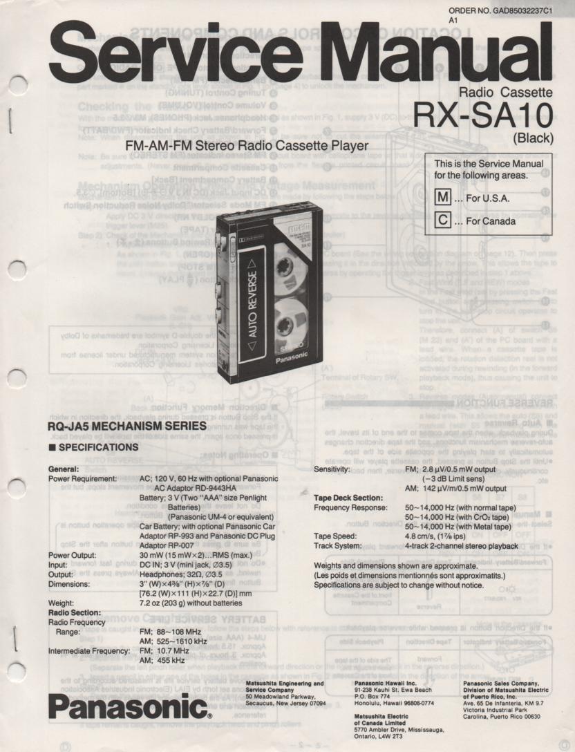 RX-SA10 Mini Cassette Radio Player Service Manual