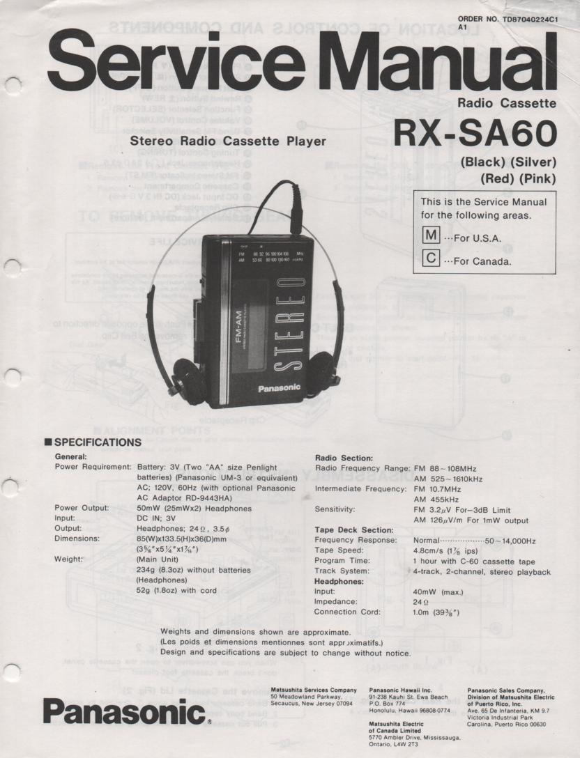RX-SA60 Mini Cassette Radio Player Service Manual