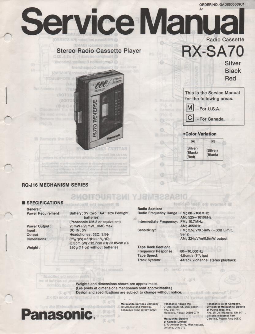 RX-SA70 Mini Cassette Radio Player Service Manual