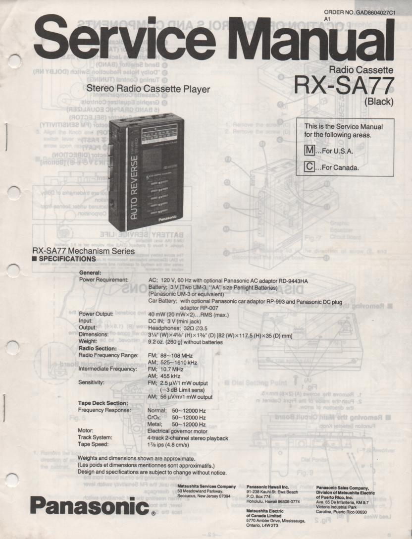 RX-SA77 Mini Cassette Radio Player Service Manual