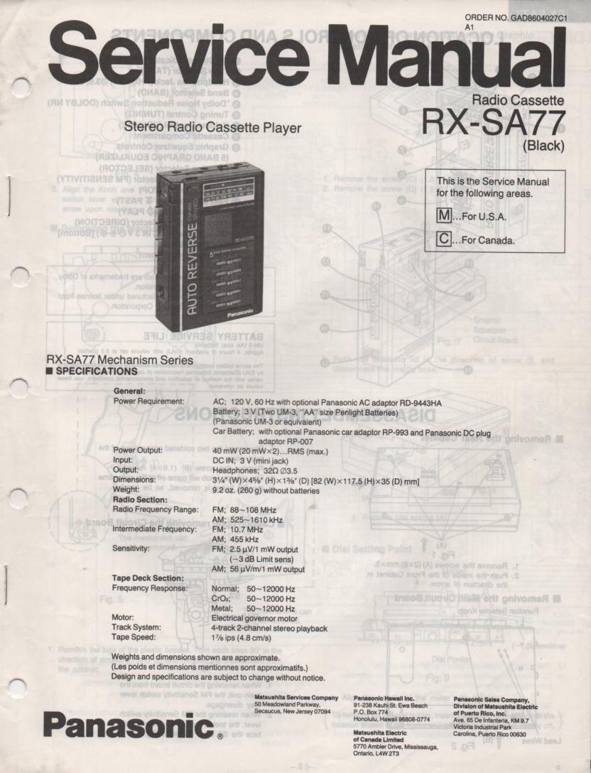 RX-SA77 Mini Cassette Radio Player Service Manual