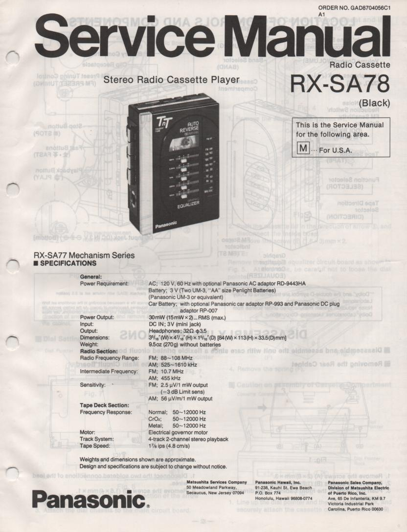 RX-SA78 Mini Cassette Radio Player Service Manual
