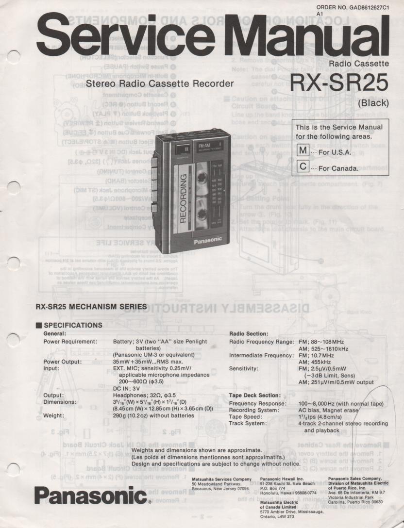 RX-SA80 Mini Cassette Radio Recorder Service Manual