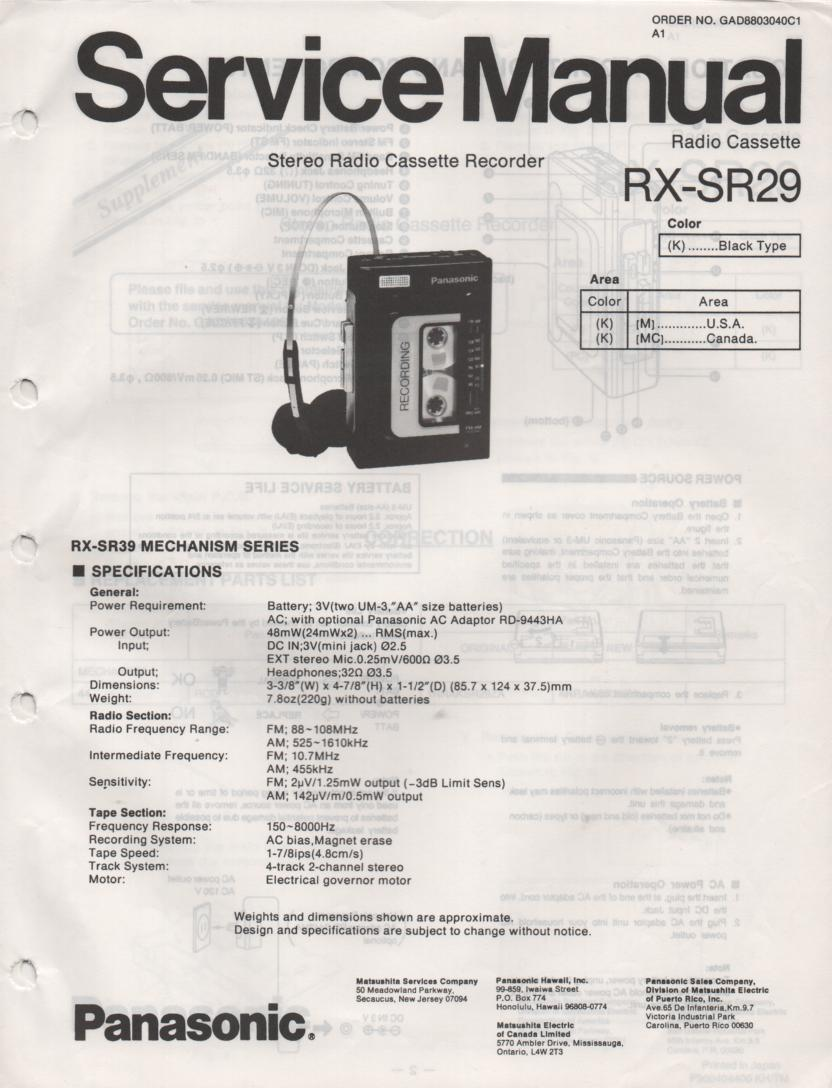 RX-SR29 Mini Cassette Radio Recorder Service Manual