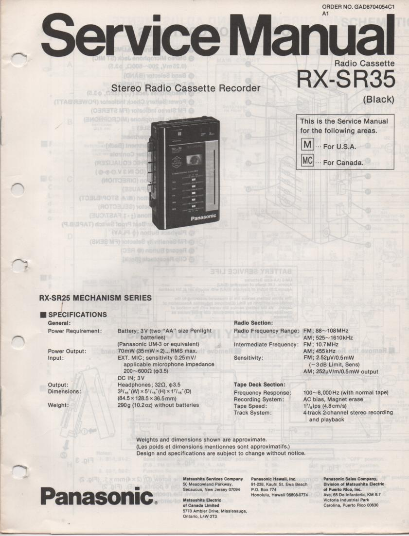 RX-SR35 Mini Cassette Radio Recorder Service Manual