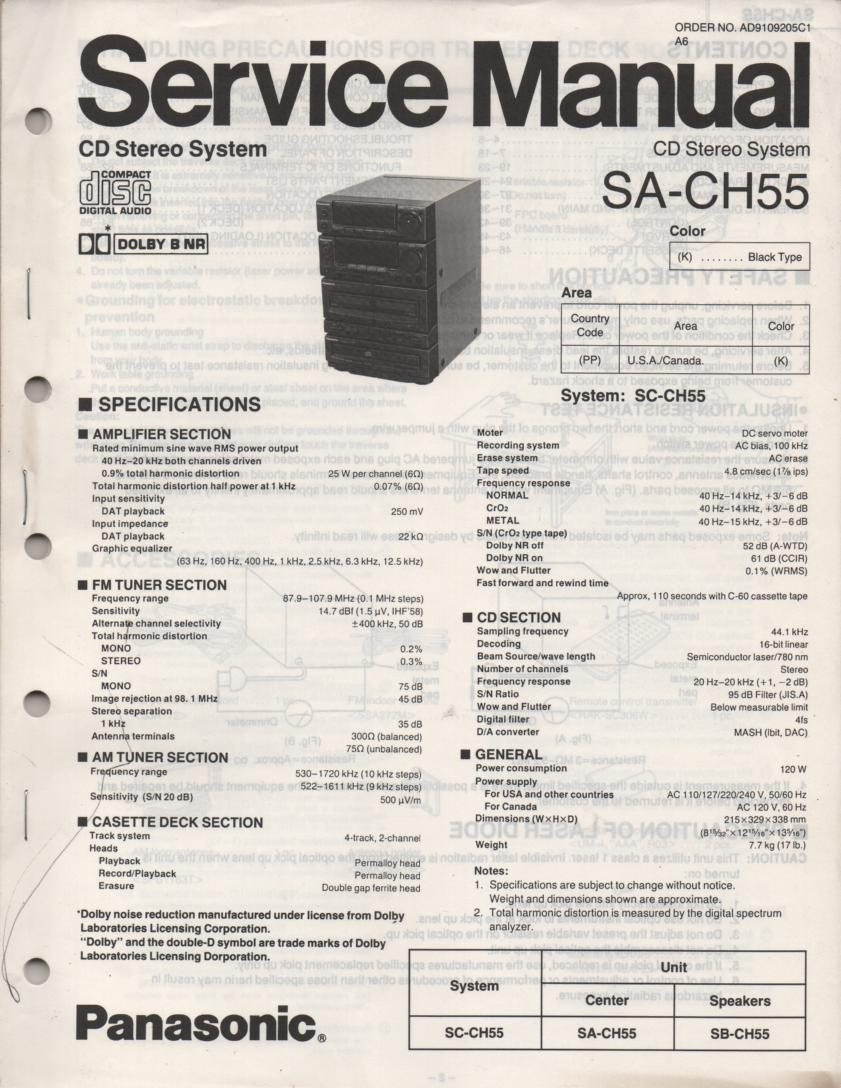 SA-CH55 CD Player Cassette Stereo System Service Manual