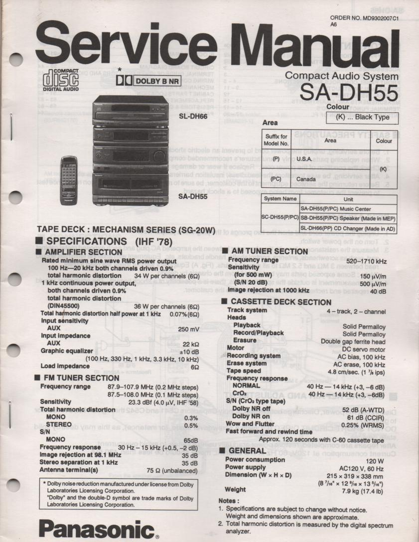 SA-DH55 CD Player Cassette Compact Audio System Service Manual