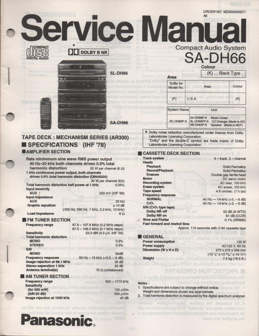 SA-DH66 CD Player Cassette Compact Audio System Service Manual