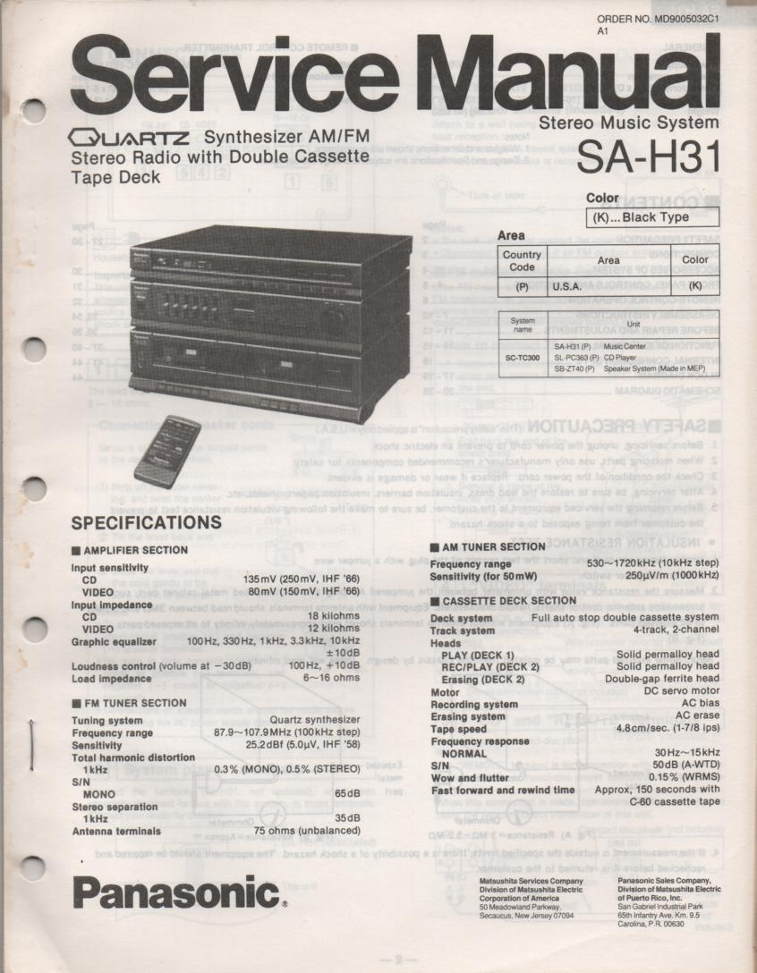 SA-H31 Double Cassette Compact Audio System Service Manual
