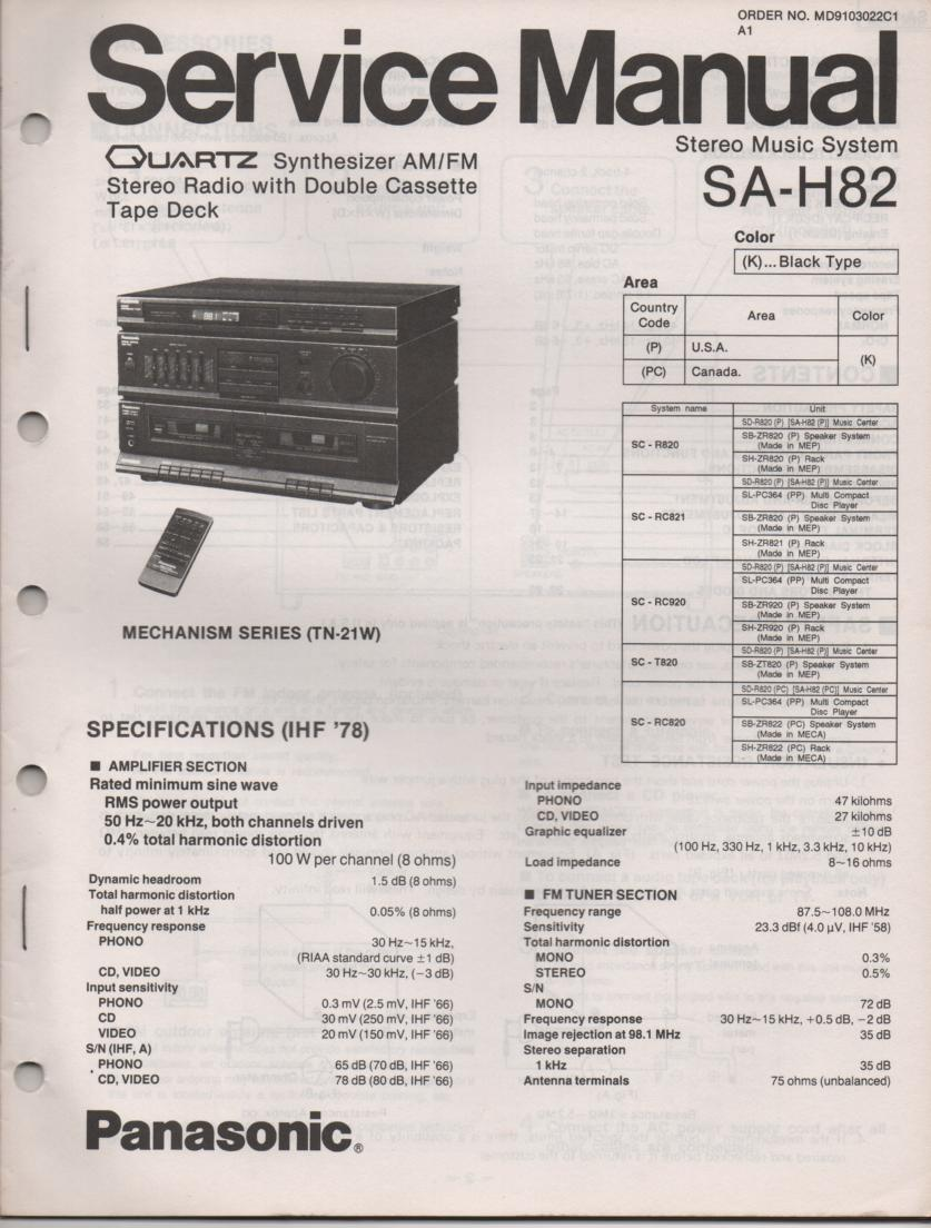 SA-H82 Double Cassette Compact Audio System Service Manual