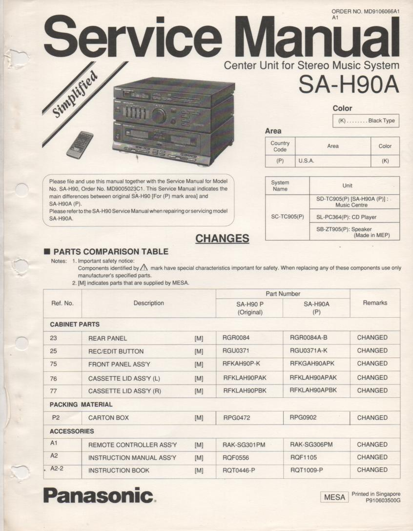 SA-H90A Double Cassette Compact Audio System Service Manual