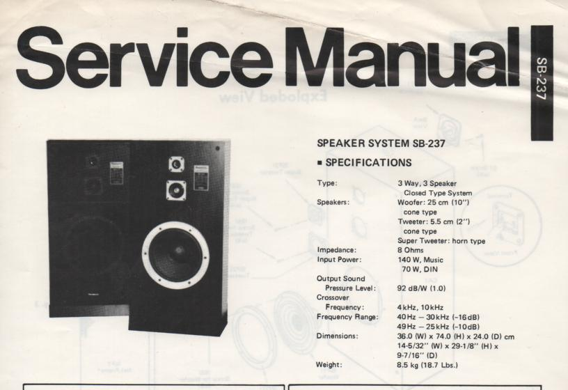 SB-237 Speaker System Service Manual