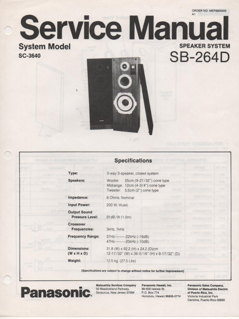 SB-264D Speaker System Service Manual