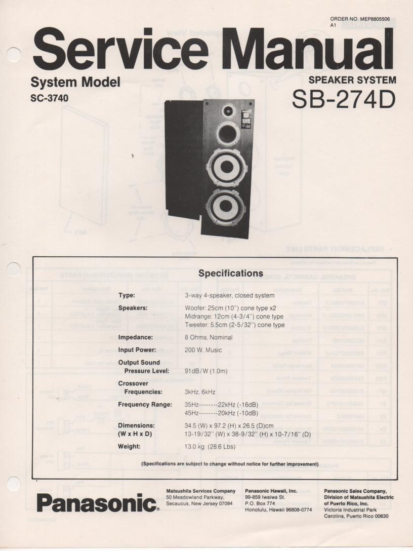SB-274D Speaker System Service Manual