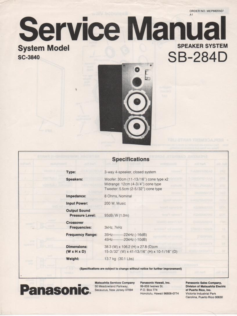 SB-284D Speaker System Service Manual