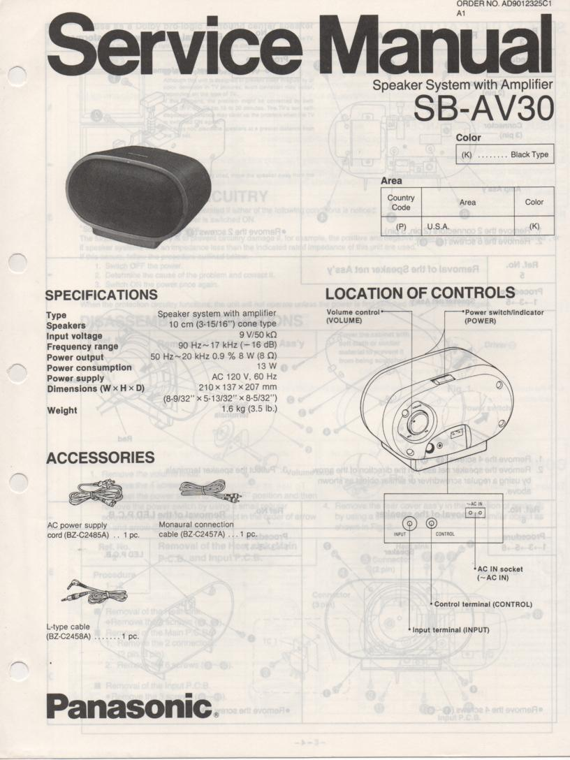 SB-AV30 Speaker System Service Manual