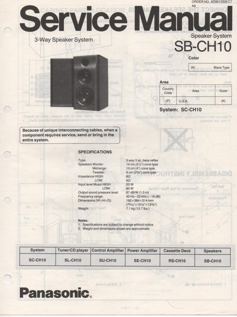 SB-CH10 Speaker System Service Manual