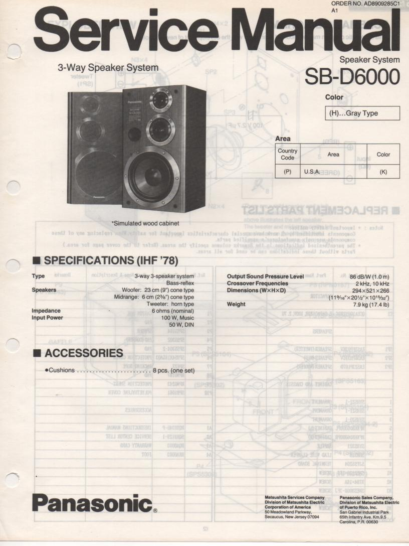 SB-D6000 Speaker System Service Manual