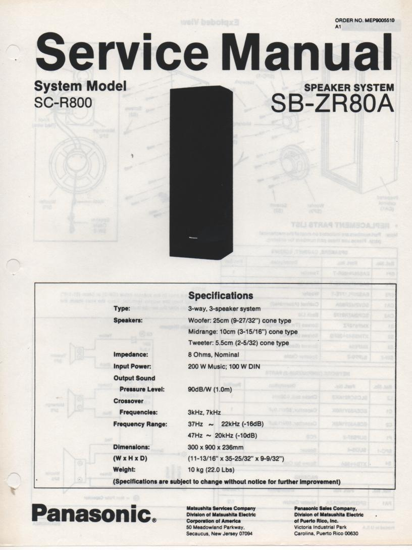 SB-ZR80A Speaker System Service Manual