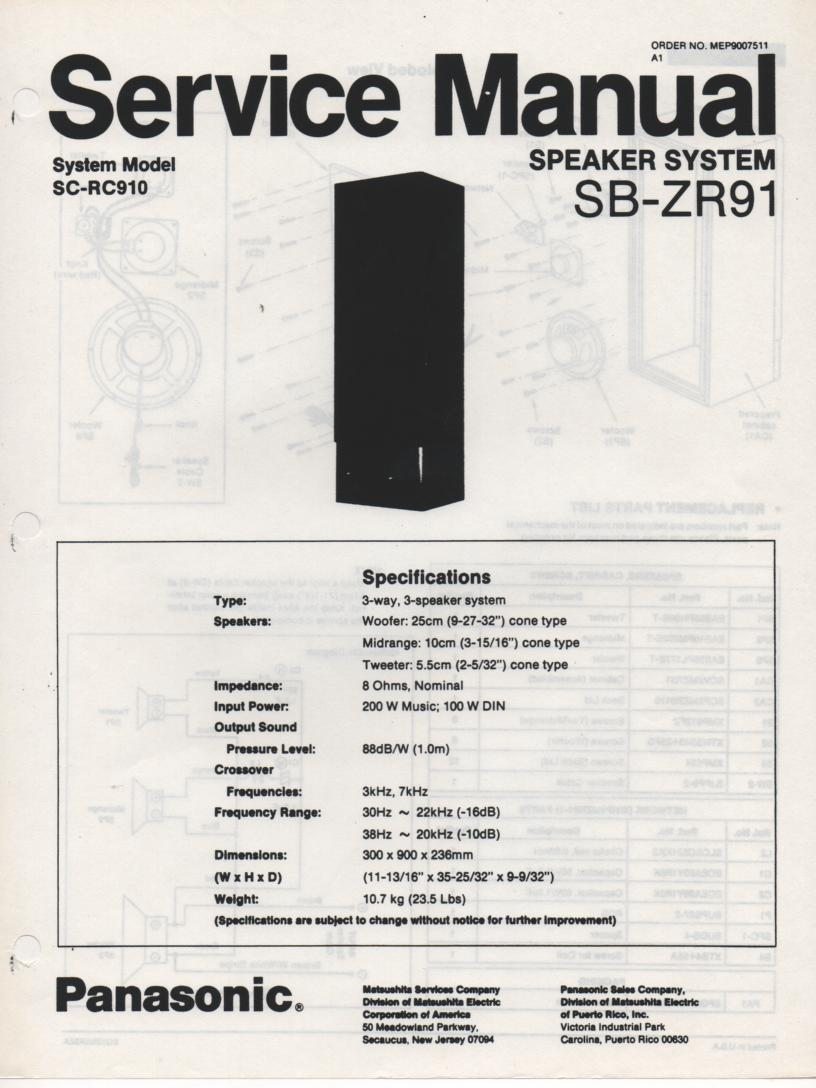 SB-ZR91 Speaker System Service Manual