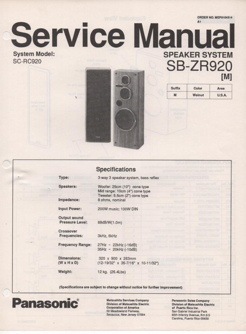SB-ZR920 Speaker System Service Manual