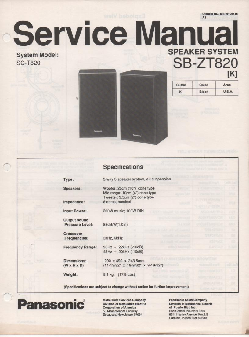 SB-ZT820 Speaker System Service Manual