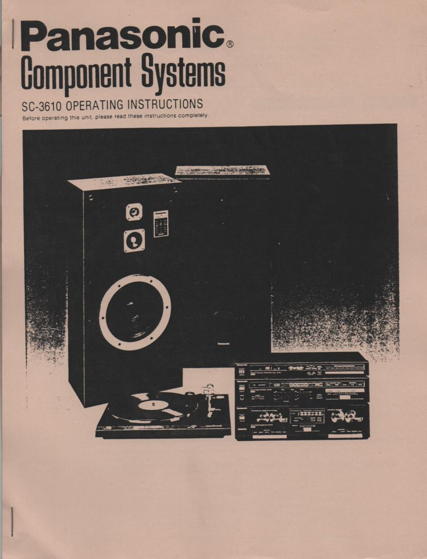 SC-3610 Stereo System Operating Instruction Manual