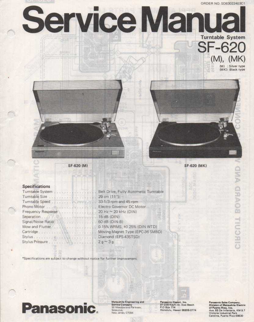 SF-620 Turntable Service Manual  PANASONIC TURNTABLES