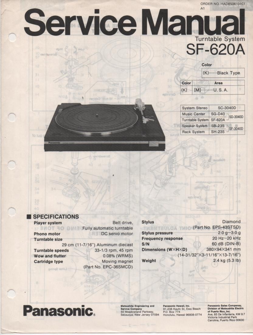 SF-620A Turntable Service Manual  PANASONIC TURNTABLES
