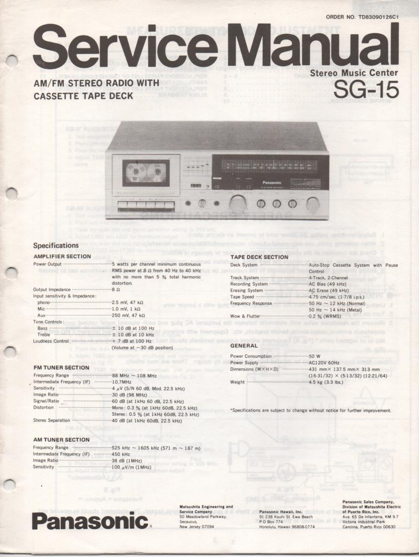 SG-15 Cassette Receiver Service Manual  PANASONIC RECEIVERS