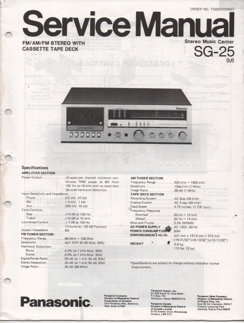 SG-25 Cassette Receiver Service Manual  PANASONIC RECEIVERS