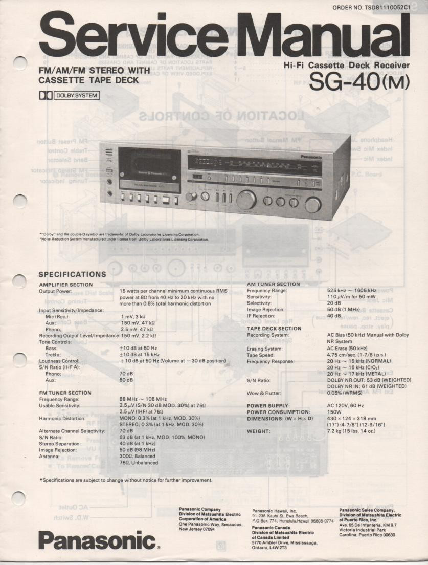 SG-40 Cassette Receiver Service Manual  PANASONIC RECEIVERS