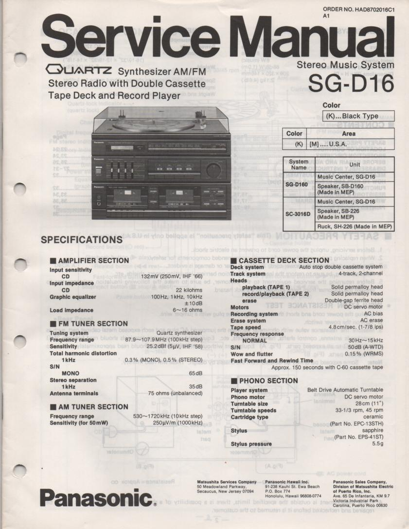 SG-D16 Music Center Stereo System Service Manual