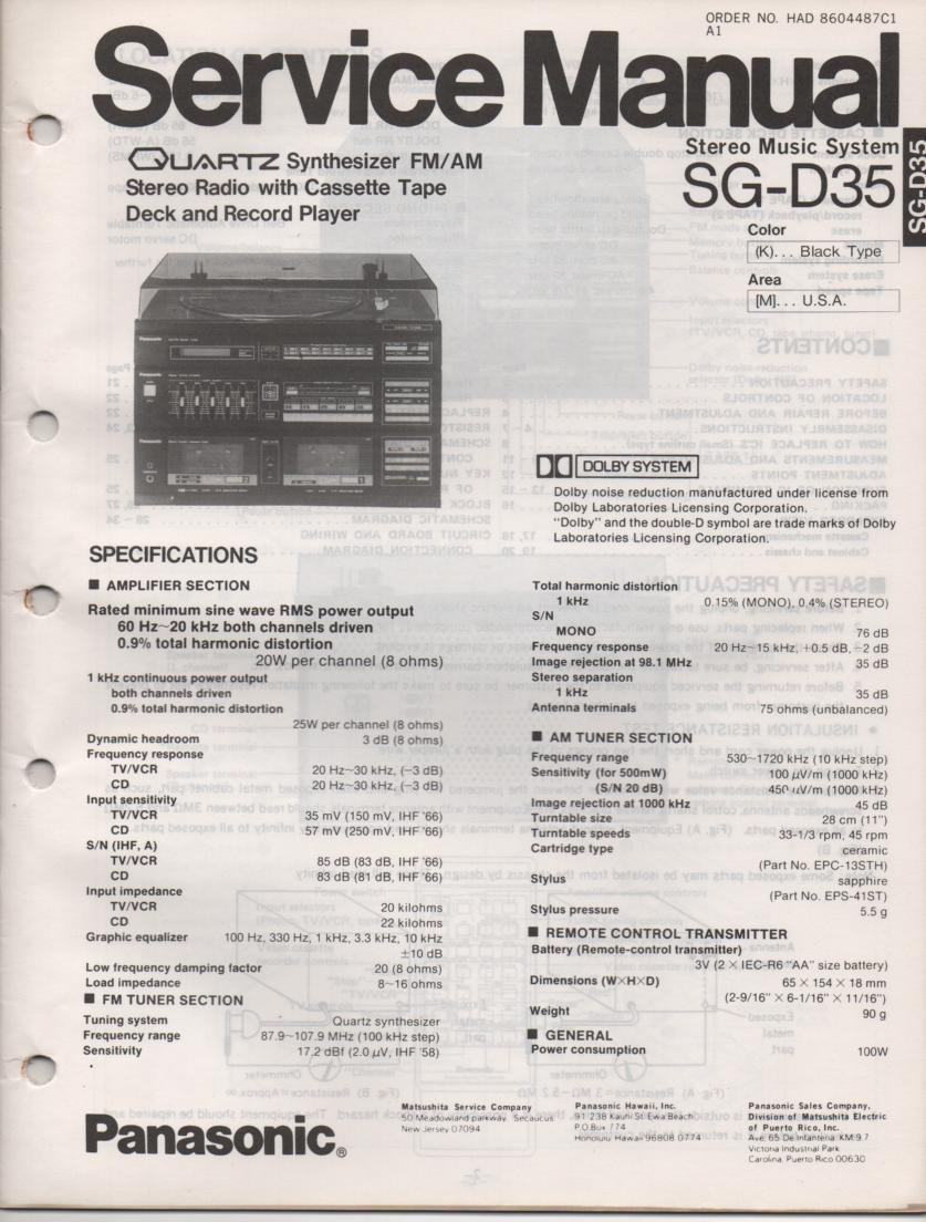 SG-D35 Music Center Stereo System Service Manual