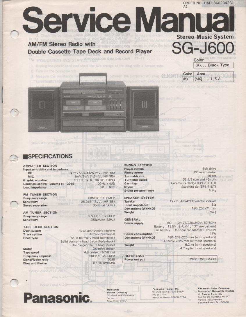 SG-J600 Portable Stereo System Service Manual