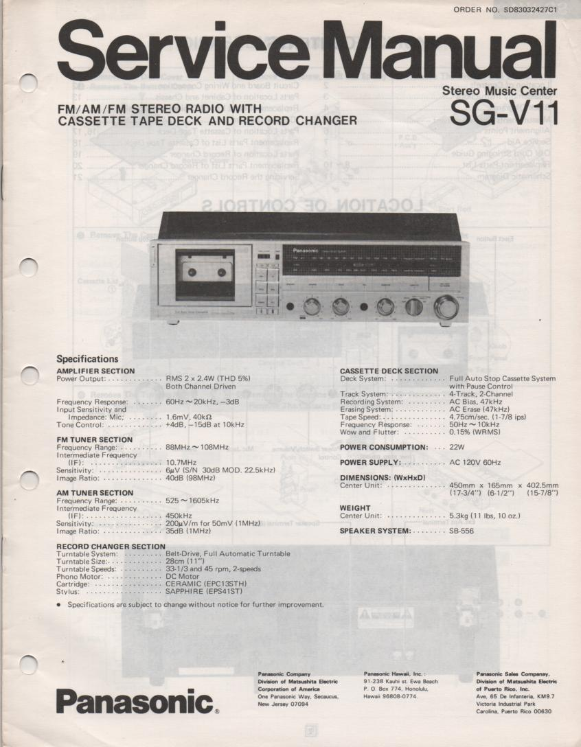SG-V11 Music Center Stereo System Service Manual