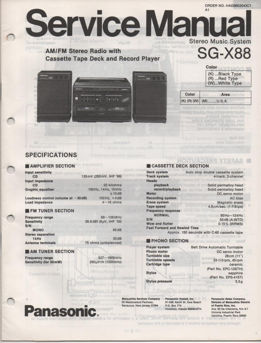 SG-X88 Music Center Stereo System Service Manual