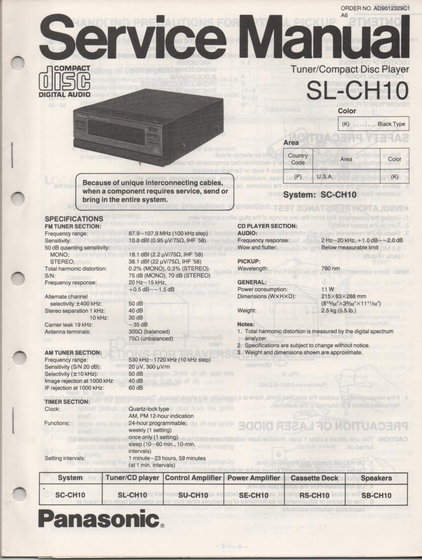 SL-CH10 CD Player Service Manual