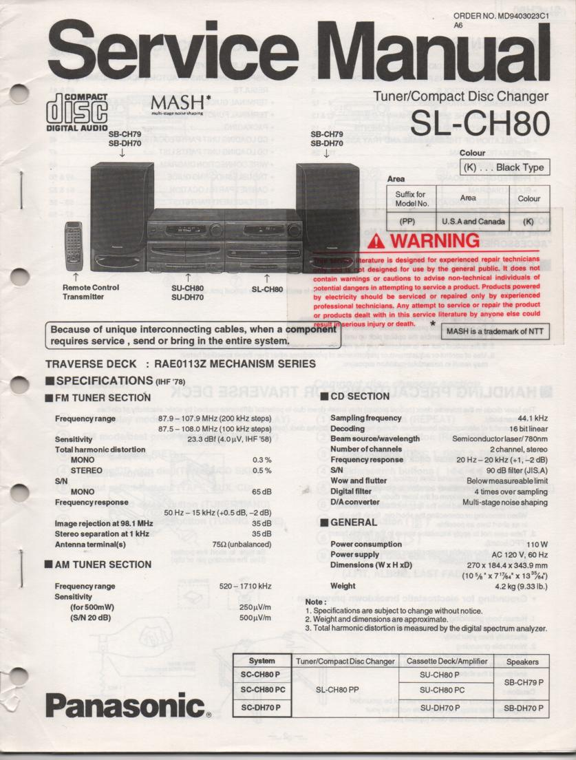 SL-CH80 CD Player Service Manual