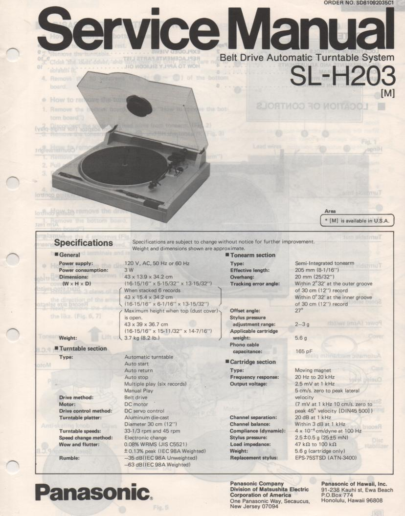 SL-H203 Turntable Service Manual  PANASONIC TURNTABLES