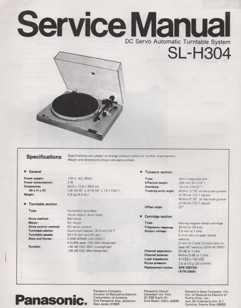 SL-H304 Turntable Service Manual  PANASONIC TURNTABLES