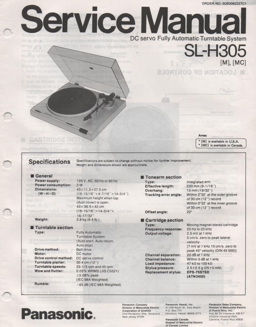 SL-H305 Turntable Service Manual  PANASONIC TURNTABLES