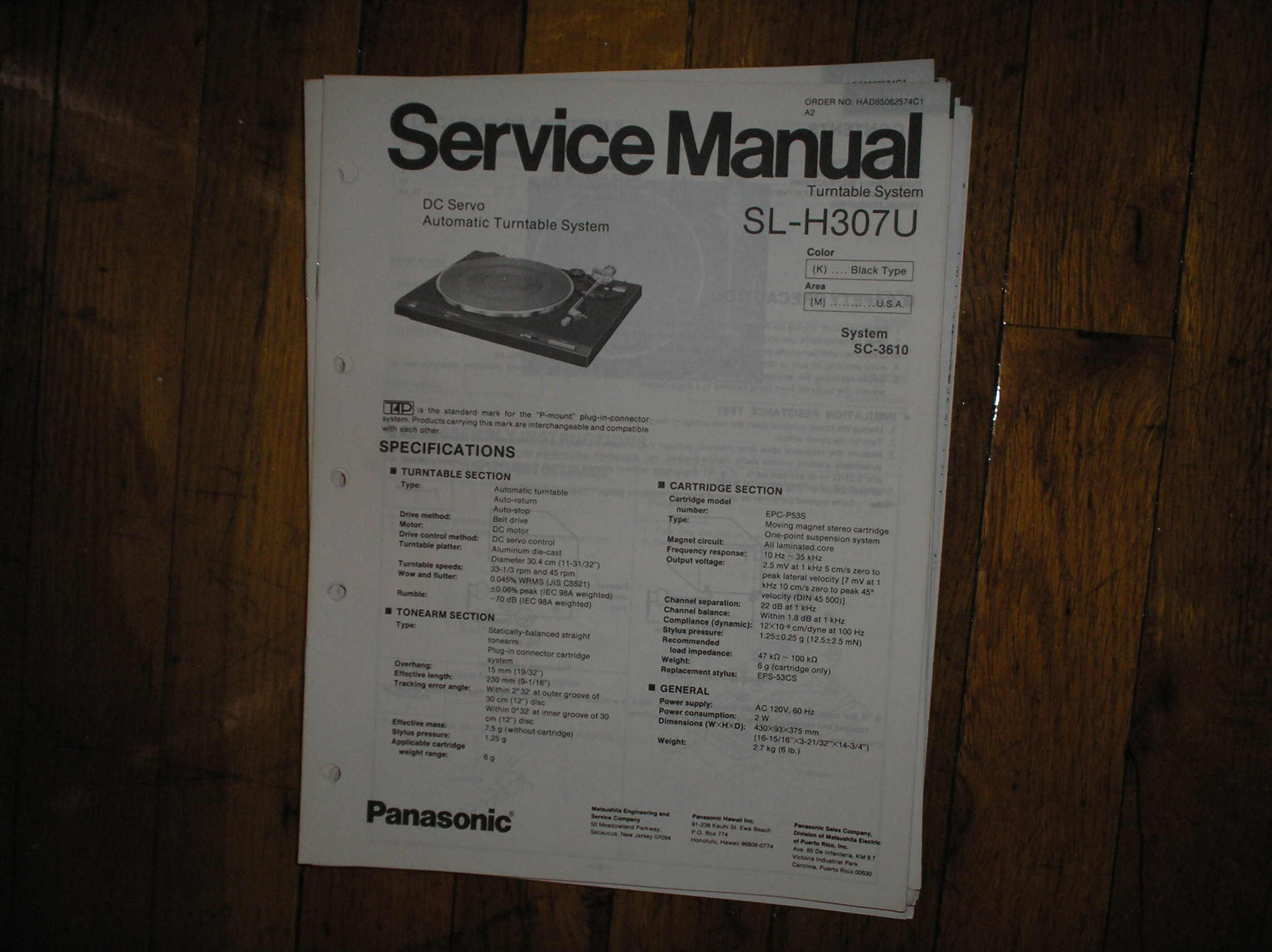 SL-H307U Turntable Service Manual  PANASONIC TURNTABLES
